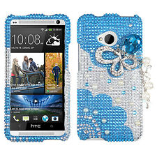 HTC ONE / M7 Crystal Diamond BLING Hard Case Phone Cover 3D Blue Butterfly Chain