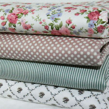 4 New Fat Quarter Bundle 100% Cotton Fabric Shabby Chic Dusty Pink Dot Roses 004