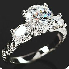 Carat Simulated Moissanite Ring Size 4+3/4 18K White Gold On Silver Fiery 2.7