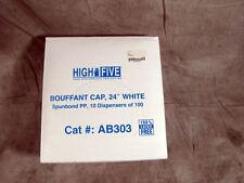 "100bx High Five 24"" Bouffant Cap White Spunbond Polypropylene Ab303 New"