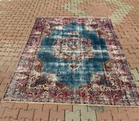 High Quality Vintage Carpet Anatolian Hand Knotted Oushak Nomadic Area Rug 7x9ft