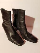 Women's Nine & Co Mid Calf Black Leather Zipper Heels Boots 8 1/2 W