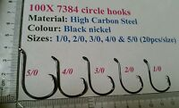 100x Mixed Chemically sharpened octopus offset circle hooks 5/0,4/0,3/0,2/0 &1/0