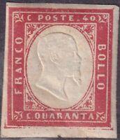 1861 - Sardegna 40 Centesimi Rosso Carminio Sassone 16D  MLH * Firmato Cardillo