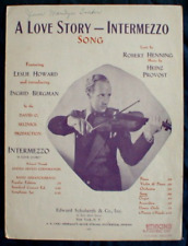 A LOVE STORY INTERMEZZO SHEET MUSIC 1939 Ingrid Bergman Leslie Howard