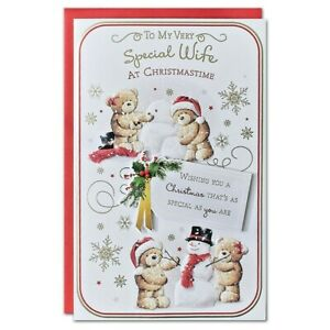 SPECIAL WIFE CHRISTMAS CARD ~ EXTRA LARGE 8 PAGE VERSE~QUALITY CARD CUTE DESIGN