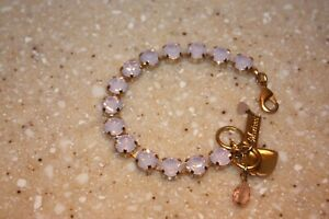 MARIANA JEWELRY BRACELET CRYSTALS PINKISH LILAC COLR WITH GOLD 7 INCHES