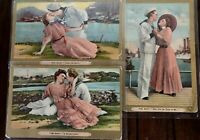 Lot of 3~Romantic Greetings 1909~Postcards with Sailors~ Navy~Pretty Ladies-s579