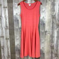 LulaRoe Womens Size Medium Knit Fit & Flare Dress Orange Sleeveless Stretch