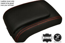 RED   STITCHING ARMREST LID LEATHER COVER FITS SSANGYONG REXTON 2002-2013