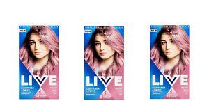 Schwarzkopf Live Lightener & Twist 105 Mauve Kiss Hair Colouring Dye x 3 Pack