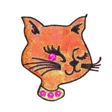 Winking Girl Cat Patch Gem Feline Fancy Kitty Face Embroidered Iron On Applique