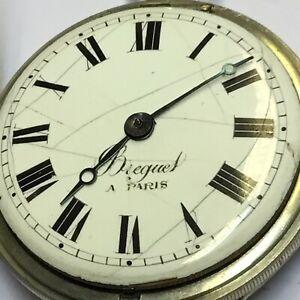 Historische Spindeltaschenuhr Breguet Paris Nickel D=52mm 114,07g Werk läuft