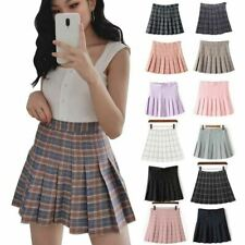 Women's High Waist Pleated Casual Tennis Style Skater Mini Skirt