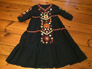 Kleid, Maizi, Folklore, Stickerei, Dunkelblau/ Bunt, 3/4 Arm, weit, Midi-Länge