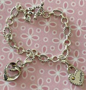 "Brighton Laugh/Joy & Callie Hearts 2-Charms PLUS Toggle Bracelet Silver 8"""