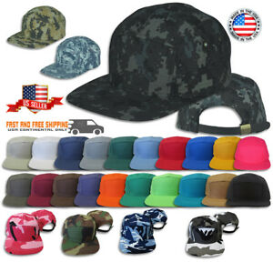 5 Panel Solid Camo Strap-back Adjustable Leather Strap Cap Hat JLGUSA