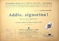 Spartito ADDIO SIGNORINA Musica di D.Berniaux edizioni Bideri 1915