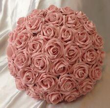 ARTIFICIAL PINK FOAM ROSE BRIDE WEDDING FLOWERS BOUQUET POSIE CRYSTALS