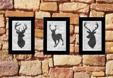 3-Stag Head Prints Vintage Dictionary/Encyclopedia Page Wall Art Deer Upcycled