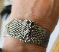 Vintage Sarah Coventry Silver Tone Slide Bracelet Owl Buckle w/ Rhinestone Eyes