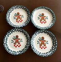 4 Tienshan Folkcraft Gingerbread Man Salad Plates Green Spongeware Christmas