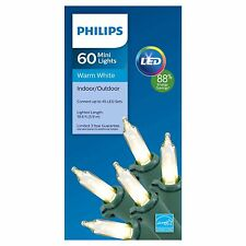 New Philips 60 ct LED Mini String Light Warm White Green Wire 19.6 FT Long
