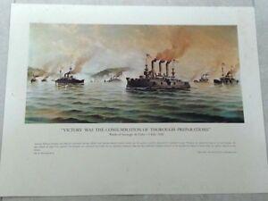 OLD MILITARY PRINT BATTLE OF SANTIAGO DE CUBA -3 JULY 1898 POSTER ALFONSO SANZ