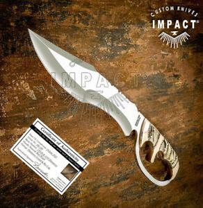 IMPACT CUTLERY RARE CUSTOM D2 FULL TANG ART BOWIE KNIFE RAM HORN