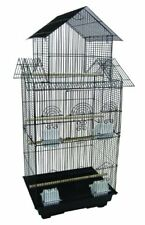 "6844 3/8"" Bar Spacing Tall Pagoda Top Small Bird Cage - 18""x14"" In Black"