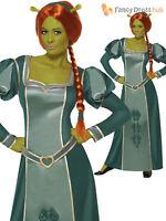 Shrek Fiona Costume +Wig Princess Ogre Ladies Womens Fancy Dress Outfit 12- 18