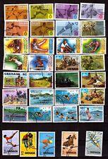 EP708 GRENADA 49T/1bloc oblitérés:sport,scoutisme,jeux de plage,oiseaux,fleurs