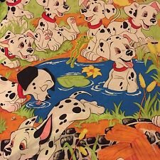 Vintage 1996 Disney 101 Dalmatians TWIN Fitted Sheet Puppies Craft Fabric Green