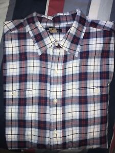 Mens Gap Classic Fit Checkers White Blue Red Fit Shirt XL