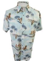 Marti Kat Men Hawaiian ALOHA shirt pit to pit 23 slim floral luau tropical retro