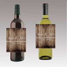 12 Rustic Wood Wine Wedding Wine Beer Bottle Labels Great for Engagement Bridal