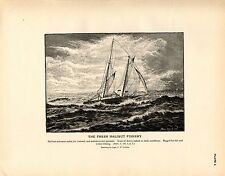 Rare 1887 Antique Fisheries Fish Print ~ The Halibut Fishery ~ Collection #1