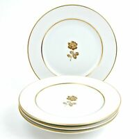 "Sango Gold Rose Fine China 6 5/8"" Bread Butter Plates White & Gold Japan Set 4"