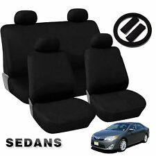 Black Comfort Cloth Polyester Car Seat Covers Double Stitch 13pc Compact Sedans