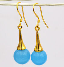 venta De Regalo Para Dama Enchapado En Oro Amarillo 18K Aguamarina piedra Dangle Earrings oferta