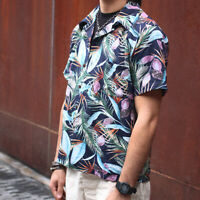 NON STOCK Tropical Plants Print Hawaiian Shirts Men Casual Aloha Beach Party