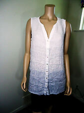 Kenar White Gray Stripe Sleeveless 100% Linen Shirt Top Blouse Size L