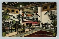 Pittsburgh PA, Fort Pitt Hotel, Lobby & Staircase, Vintage Pennsylvania Postcard