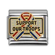 Support Our Troops Ribbon Italian Charm 9mm Stainless Steel Bracelet Link TR1584