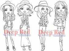 Deep Red Rubber Stamp City Girl Casual Friday Ladies to Color