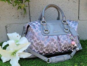 Coach 18437 Ashley LRG optic signature satchel handbag purse shoulder GRAY/PINK