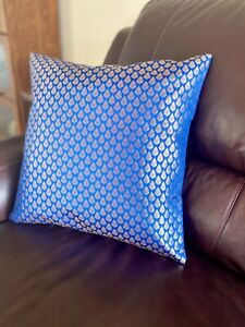 """Pillow cover/Case, Silk, Brocade 18"""" cover for 20 inch Pillow,  Royal Blue, Gold"""