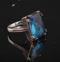 925 Sterling Silver Handmade Gemstone Turkish Sapphire Ladies Ring Size 7-8-9