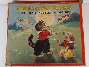 Vintage 1940's PLATT & MUNK Tray Puzzles MOTHER GOOSE Nursery Rhymes Set of 4