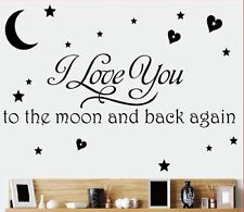 I LOVE YOU TO THE MOON AND BACK AGAIN Kids Room Vinyl Wall Sticker Home Decal